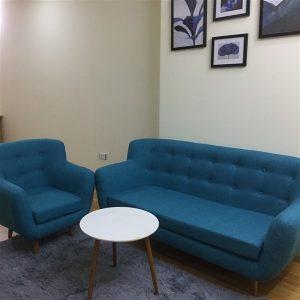 Thanh lý ghế sofa văng thuyền màu xanh